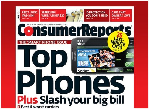 Consumer Reports Magazine January 2013, Top Phones