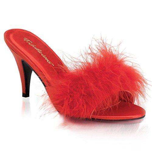 Fabulicious - Sandalias de vestir de satén para mujer Rot