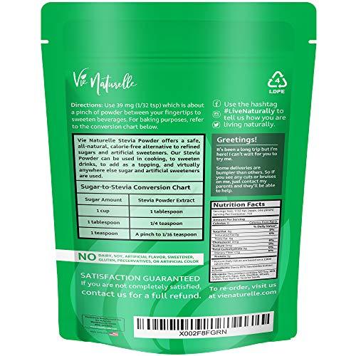 Vie Naturelle Pure Stevia Powder Extract Sweetener - 750 Servings - Zero Calorie Sugar Substitute - No Artificial Ingredients 2