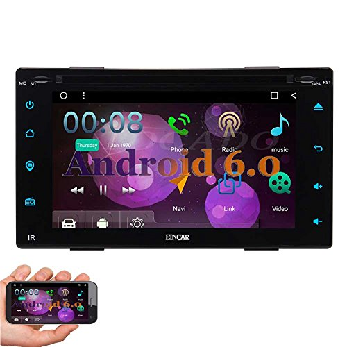 EinCar Android 6.0 Marshmallow 6.2'' Double Din Car DVD GPS Navigation Player In Dash Bluetooth Car Stereo Touchscreen AM/FM Radio Support WiFi OBD2 Mirrorlink Steering Wheel Control