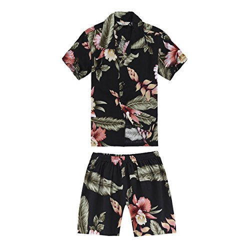 Boy Hawaiian Shirt and Shorts Cabana Set in Black Rafelsia Size 6