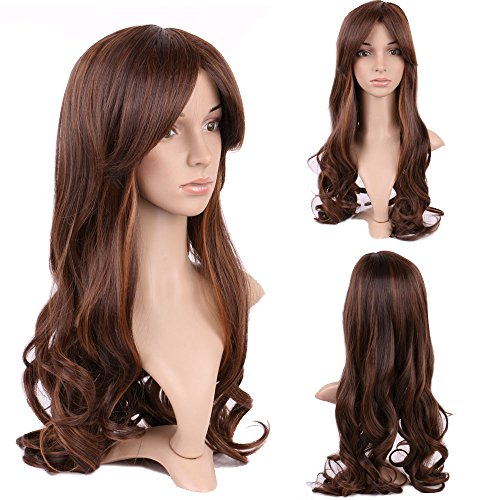 Glamorous Ombre Long Wig + Free Cap for Women Daily & Party Dress Big Wave Hair Central Part Oblique Bangs (Brown Coffee - Mall Queen Central