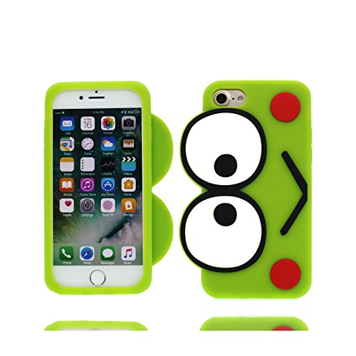 iPhone 6S Copertura,iPhone 6 Custodia,iPhone 6S case,Custodia iPhone 6 per le ragazze, grandi occhi 3D Fronte Smile Silhouette morbido del fumetto[Prova di scossa]Cover for iPhone 6/ 6S 4.7 inch-verde