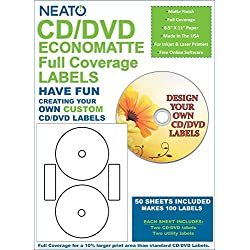 Genuine Neato Full Coverage Econo Matte White CD/DVD Labels, 2 Labels per Sheet - 50 Sheets - 100 Labels Total - CLP -192239 - Online Design Access Code Included