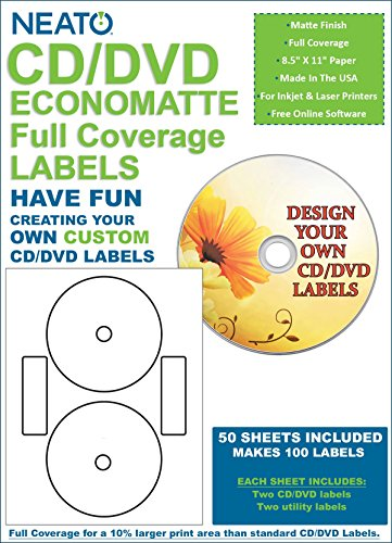 Neato CD/DVD Economatte Full Coverage Labels – 50 Sheets – Makes 100 Labels - CLP-192239 - Online Design Label Studio Included - Adhesive Made Specifically for CDs & DVDs