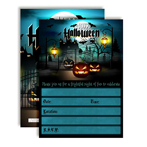 Halloween Graveyard with Spooky Jack O' Lanterns Party Invitations, 20 5