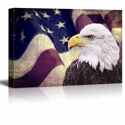 Wall26 Canvas Prints Wall Art - Bald Eagle with the American Flag |Patriotic Theme Modern Wall Decor/ Home Decor Stretched Gallery Canvas Wrap Giclee Print & Ready to Hang - - American Patriotic Posters