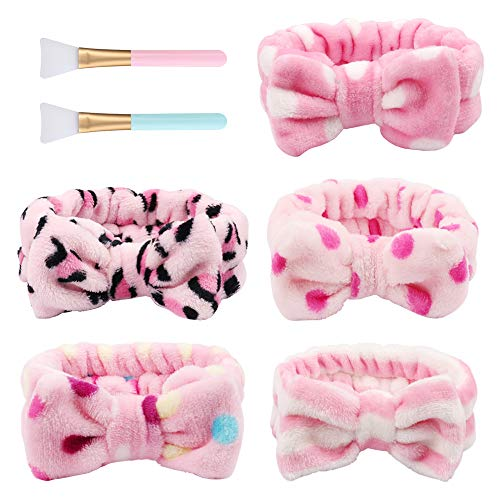(5pcs Bow Makeup Headband, Adjustable Face Wash Headbands Cute Spa Yoga Headband Elastic Soft Cosmetic Hairbands for Women Girls, with Silicone Face Mask Brushes)