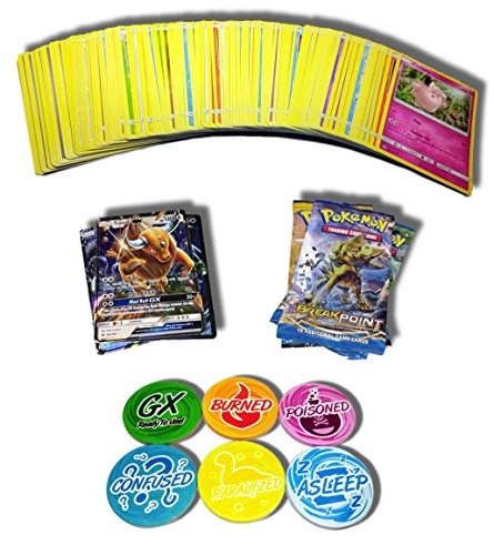 100 Pokemon Cards plus 1 Guaranteed EX or GX and 1 Booster Pack and 6 GX/Status Tokens (GX, Burned, Poisoned, Asleep, Confused, (Status Tokens)
