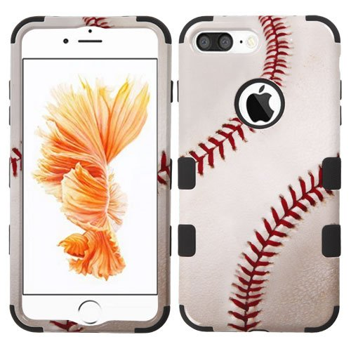 Wydan Compatible Case for iPhone 8 Plus, iPhone 7 Plus - TUFF Hybrid Hard Shock Absorbent Case Protective Heavy Duty Impact Skin Cover - Baseball for Apple