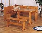 Kitchen Oak Veneer Wood Corner Bench Dining Table Set
