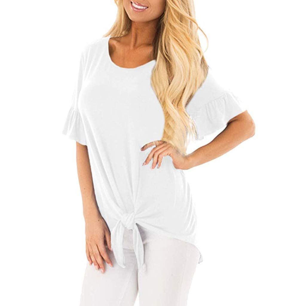 BB67 Womens Fashion Short Flare Sleeve Knotted Loose Solid T-Shirt Summer Casual Shirt Tops S-XXL White