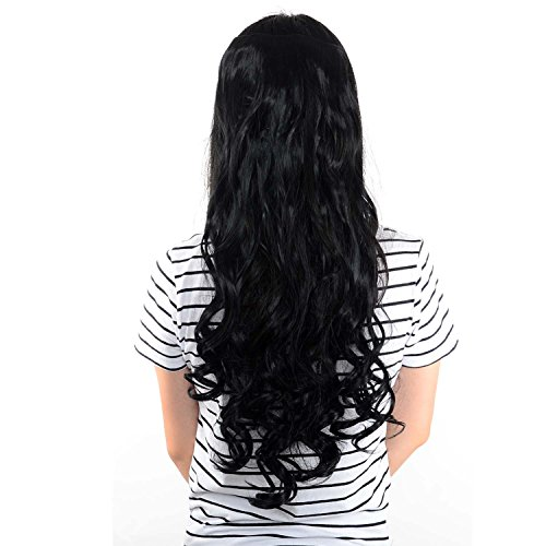 Curly Full Head Clip In Synthetic Hair Extensions Black, 7 Piece