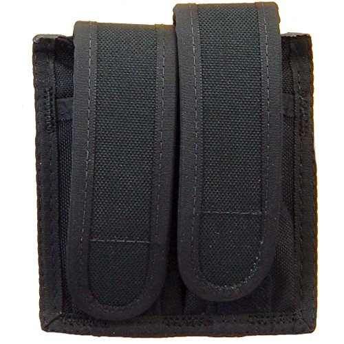 Uncle Mike's Off-Duty and Concealment Accessory Kodra Double Hook and Loop Universal Pistol Mag Case, Black (Mag Universal Double Case)