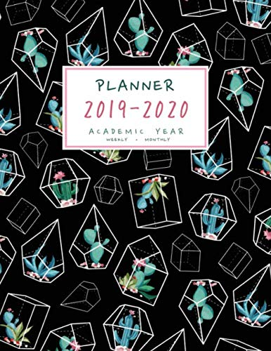 Planner 2019-2020 Academic Year: 8.5 x 11 Weekly and Monthly Organizer from July 2019 to June 2020 | Cactus Succulent Geometric Design Black