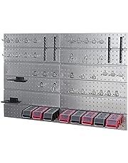 Gereedschapswand van metaal, 1160 mm x 770 mm, set van 45 gereedschapshouders met gatenwand, opslagsysteem, gatenwand, wandrek, werkplaatsrek
