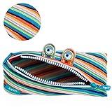 Zipit Monster - Estuche con 3 anillas, Estuche para lápices, rayas de colores