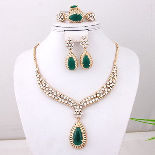 Fashion 18k Gold Plated Crystal 3colors Zircon Necklace Wedding Jewelry Set (Green)