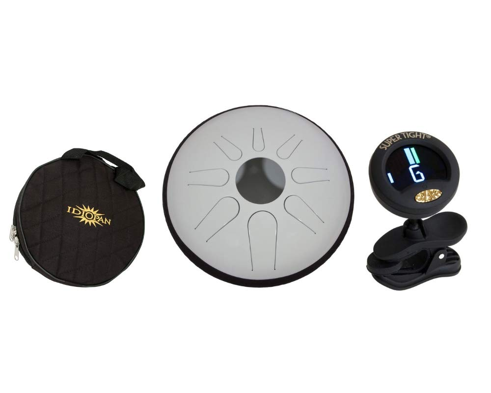 Idiopan Domina Steel Drum Package Includes: 12'' Tunable Tongue Drum W/Pickup, Glow-in-the-dark White + Idiopan 12'' Standard Gig Bag For Tongue Drum & Chromatic Tuner