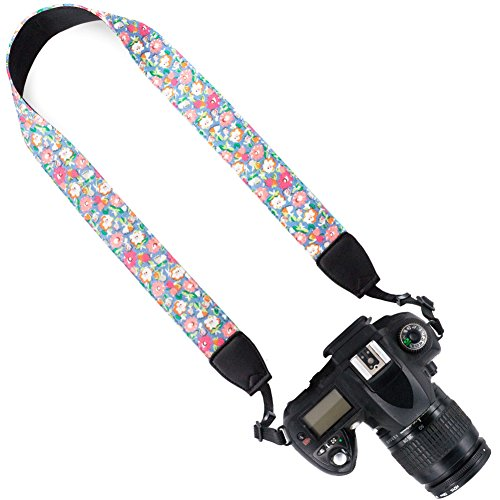 Wolven Canvas DSLR/SLR Camera Neck Shoulder Belt Strap for Nikon,Canon,Sony,Samsung,Pentax,Olympus,Leica Camera Etc, Pink Blue Floral