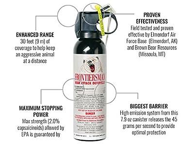 Frontiersman Bear Spray - Maximum Strength & Maximum Range - 35 Feet (9.2 oz) Or 30 Feet (7.9 oz)