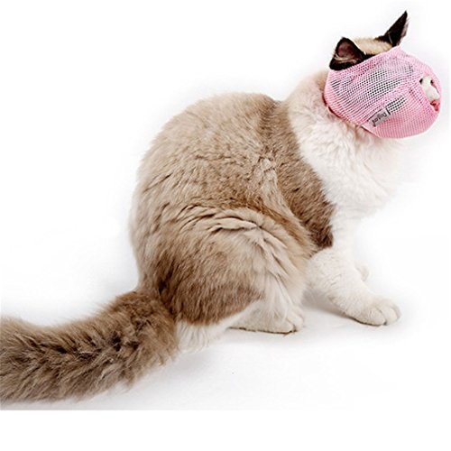 TraveT Cat Muzzles, Breathable Mesh Muzzles with Adjustable Velcro Cat Mask Mouth Cover Anti Biting and Chewing