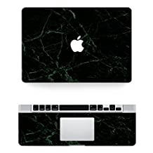 """Vati Leaves Removable Black Marble Protective Full Cover Vinyl Art Skin Decal Sticker Cover for Apple MacBook 13.3"""" inch (A1342 - MC516/MC207)"""