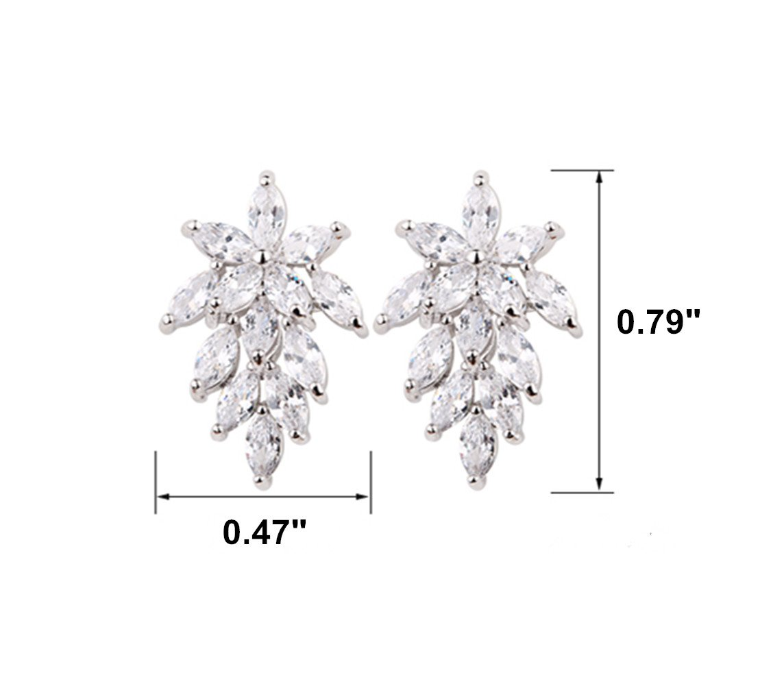 Fire Eyes-DIY S925 Sterling Silver Stud Earrings Platinum Plated Cubic Zirconia Spica Leaf Flower Jewelry for Women Girls Birthday Gift