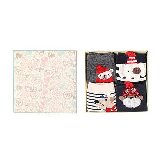 Gysad 4 pares Series de navidad Calcetines de algodon mujer Exquisito y encantador Pack calcetines mujer Suave y comodo Calcetines de invierno (Estilo-A): ...