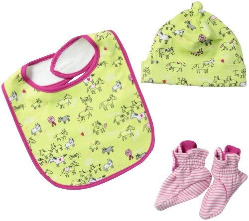 (Zutano Baby-Girls Newborn My Pony Bib, Hat And Bootie Set, Multi, 18 Months)
