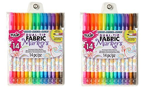 Tulip Permanent Nontoxic Fabric Markers 14 Pack - Dual Tip with Fine Tip & Brush Tip, Child Safe, Minimal Bleed & Fast Drying - Premium Quality for T-shirts, Shoes, Bags & Other Fabrics (2 Pack) by Tulip