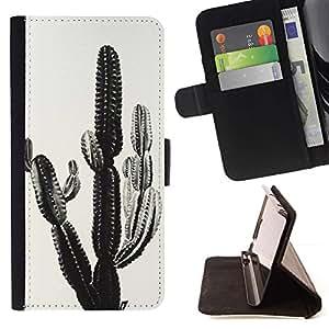 Momo Phone Case / Flip Funda de Cuero Case Cover - Planta Negro Blanco Desierto Foto - LG G2 D800