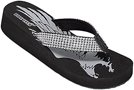 8594 Black Small Wedge Heel AdTec Women/'s Thong Fine Jeweled Flip Flop Sandal