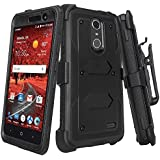 ZTE Grand X 4 Case, ZTE Blade Spark Z971 Case [Shock Proof] Heavy Duty Belt Clip Holster, Full Body Coverage with Built In Screen Protector / Rugged Double Layer Protection, Black