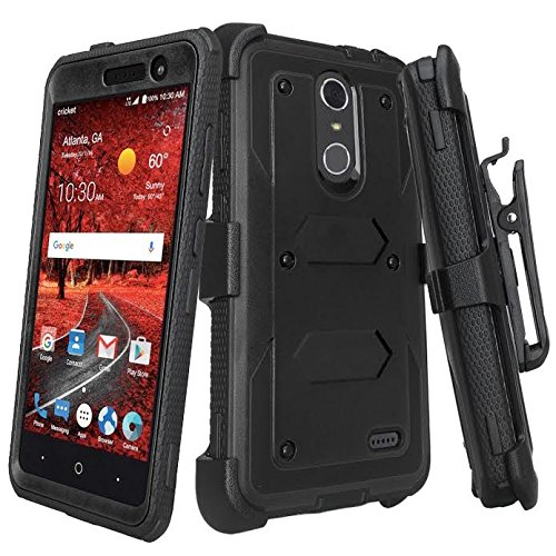 [GALAXY WIRELESS] For ZTE ZMAX One (Z719DL) Case, ZTE Grand X 4 Case, ZTE Blade Spark Z971 Case [Shock Proof] Heavy Duty Belt Clip Holster,Full Body Coverage with Built In Screen Protector - Black (Cell Phone Case Zte)