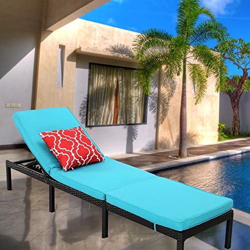 Do4U Outdoor Patio Chaise Lounge Chair- Adjustable Pool Lounge Chair Patio Furniture Wicker Couch Bed with Turquoise Thick Cushion | Expresso Rattan & PE Wicker | Steel Frame