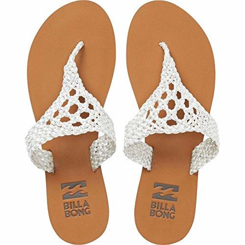 Billabong Women's Lola Flat Sandal, Silver, 6 M US