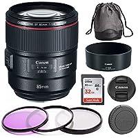 Canon EF 85mm f/1.4L IS USM Camera Lens + 77mm Filter Kit + 32GB SD Card Bundle