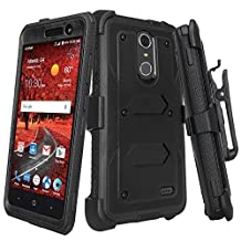 ZTE Grand X 4 Case, ZTE Grand X4 Phone Case [Shock Proof] Heavy Duty Belt Clip Holster, Full Body Coverage with Built In Screen Protector / Rugged Double Layer Protection, Black