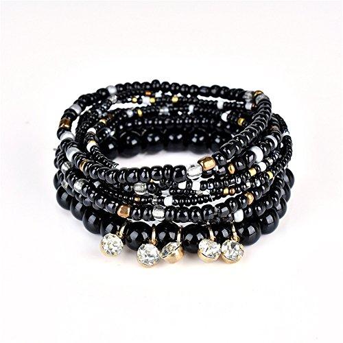 LOVFASHION Multilayer Bohemian Beaded Bracelet Crystal Pendant Charm Stretch Beach Bangle Bracelet Set Jewelry