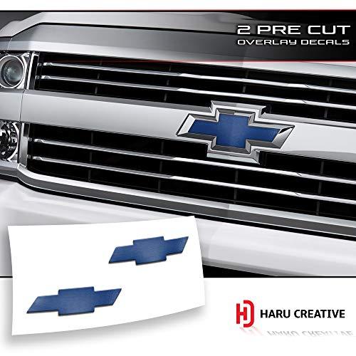 Haru Creative - Front Hood Grille Tailgate Bumper Trunk Bowtie Emblem Overlay Vinyl Decal Sticker Compatible Fits Chevy Chevrolet Silverado 2016-2018 - Metallic Matte Chrome Blue ()