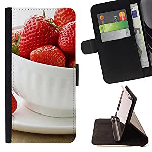 DEVIL CASE - FOR Apple Iphone 6 - Fruit Macro Strawberries Cup - Style PU Leather Case Wallet Flip Stand Flap Closure Cover