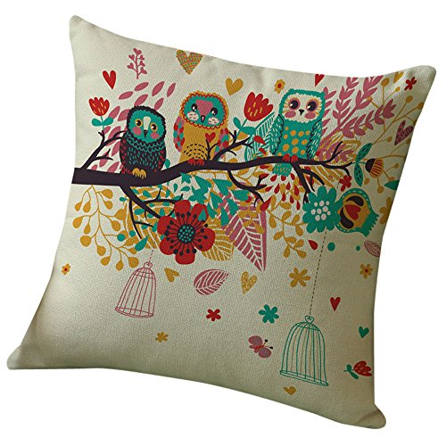 GBSELL Pillow Cover Happy Tree Bird Pillow Case Sofa Throw Cushion Cover Home Fall Decor,45cm45cm (D) -