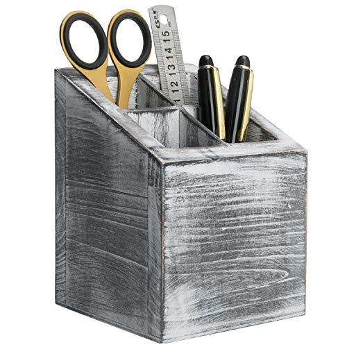 MyGift Vintage Gray Wood 4 Slot Pen & Pencil Holder Box