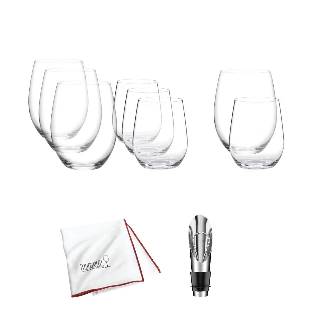 Riedel O Mixed Cabernet/ViognierTumbler, Set of 6 Plus 2 Bonus Glasses Includes Wine Pourer with Stopper and Polishing Cloth