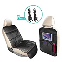 Car Seat Protector & Back Seat Organizer With iPad Holder, Durable Quality Seat Covers, Extra Large Storage Car Seat Back Organizer & Kick Mat Protector, With 2 Free Car Hooks