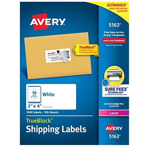 Avery Shipping Address Labels, Laser Printers, 1,000 Labels, 2x4 Labels, Permanent Adhesive, TrueBlock -