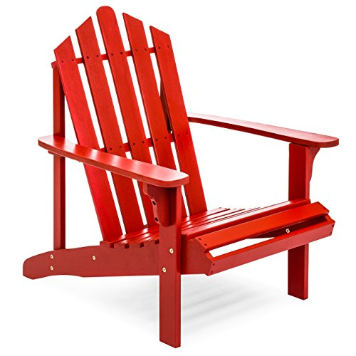 Best Choice Products Outdoor Patio Acacia Wooden Adirondack Chair (Red)