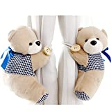 PYD 2PCS Cute Bears Curtain Tieback Buckle Hook Fastener Baby Kids Room Window Screens Decoration (Deep Blue)