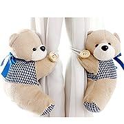 PYD 2PCS Cute Bears Curtain Tieback Buckle Hook Fastener Baby Kids Room Window Screens Decoration (Deep Blue)